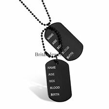 Fashion Military Army Style Black 2 Dog Tags Chain Mens Pendant Alloy Necklace