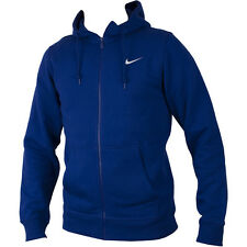NEW NIKE CLUB MEN'S BLUE FULL ZIP HOODIE HOODY SWOOSH SIZE L