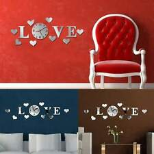 Modern Design Silver Mirror Effect Wall Sticker LOVE Clock Movement Decoration
