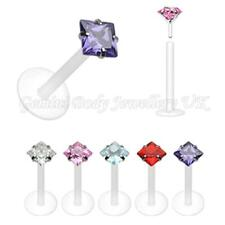 Square CZ crystal gem bioflex push fit tragus helix  lip piercing labret bar