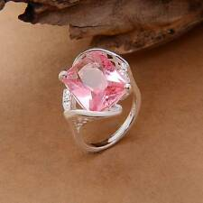 Hot Sale 925 Sterling Silver Big Crystal Women Fashion Party Ring Sz.7-9