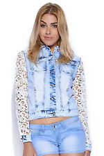 Womens Crochet Lace Long Sleeved Denim Fancy Jacket Ladies Coat UK 8-14