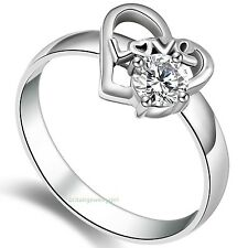 Stainless Steel Love Heart Ring W/ Cz Women's Promise Engagement Wedding Band