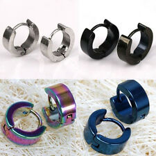 2PCS Punk Mens Women Stainless Steel Hoop Huggies Ear Stud Earrings Gothic SI