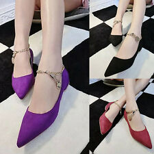 Fashion Pointed Toe Metal Chain Suede Slip On Shoes Loafers Moccasins Flats