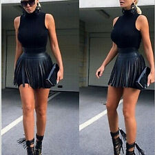 Fashion Women faux leather Bodycon Black Party Cocktail Dress Two Pieces Dress