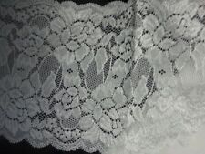 """whoelsale 1 /10/ 50 Yards white stretch double scalloped rose lace trim 6"""" S6-6"""