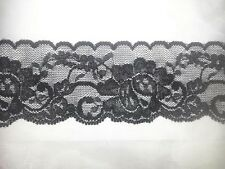 "whoelsale 2 /10/ 50 Yards black stretch double scalloped lace trim 2 .25 ""S4-1"