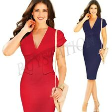 Sexy Women V-neck Summer Bodycon Pencil Slim Dress Business Party Cocktail Dress