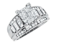 10k White Gold Bridal Baguette Princess Cut Diamonds Wedding Engagement Ring 1ct