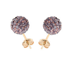 14K Yellow Gold Swarovski Elements Crystal Cyclamen Opal Disco Ball Stud Earring