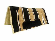 TOP QUALITY SADDLE PAD NUMNAH COWBOY FLEECE IN BLACK / CAMEL 30X30 BY TINT2