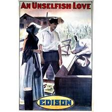 NEW! Vintage An Unselfish Love Edison 1910 Movie Poster Home Decor Wall Art