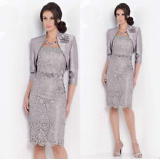 Short Lace Mother of the Bride/Groom Dresses Silver Party Evening Formal Gowns