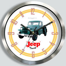 CLASSIC WILLYS JEEP PICKUP TRUCK METAL WALL CLOCK 1947-60 1950s choice of colors