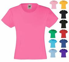Fruit of the Loom Girls Fit T-Shirt Top Plain 8 Colours