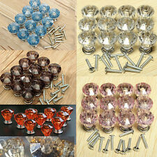 12Pcs Crystal Glass Door Knobs Cabinet Furniture Kitchen Cupboard Drawer Handles