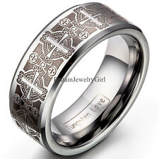 8mmTungsten Carbide Ring Comfort Fit Laser Etched Cross Men Jewelry Wedding Band