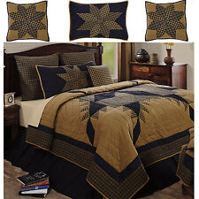 Navy Star Primitive Country Quilt Shams Bed Skirt Pillows Set~5~6Pc Queen~King