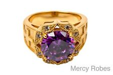 New Womens Bishop Ring, Purple Stone, Side Cross, Religious/Christian (SUBS525P)