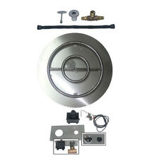 Stainless Steel Burner Pan & Ring for Fire Pit w Spark Ignition Kit Natural Gas