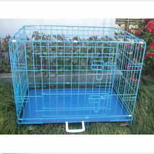 USA 2 Door FOLDABLE METAL WIRE CAGE DOG CRATE KENNEL SUITCASE ABS TRAY Playpen