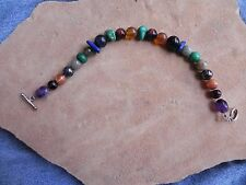"""Multi-Stone Beads with Sterling Silver Toggle TREASURE Bracelet 8"""" Navajo"""
