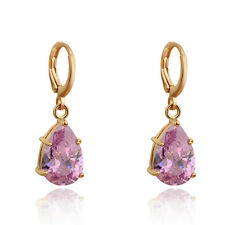 Women Teardrop Crystal Gem Dangle Yellow Gold Plated Zircon Stud Hoop Earring