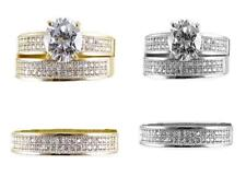 GOLD HIS & HER 10K SOLID YELLOW/WHITE GOLD CZ WEDDING RING BAND SET SIZE 5-13