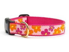 UP COUNTRY PINK POWER DOG COLLAR NYLON/RIBBON - Matching harness available in XS
