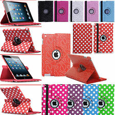 360 ° Polka / Bling Diamond Leather Case Cover per Apple iPad 2/3 / 4 Air / 5, Mini 2,3