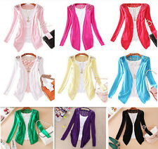 2015 Womens Candy Color Crochet Knitwear Lace Cardigan Blouse Tops Coat Sweater