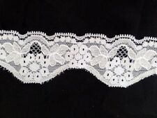 10 / 20 /50/ 100 yards white / black Stretch DOUBLE scalloped lace trim 1 1/2""