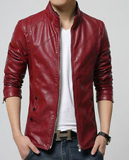 New Men's leather motorcycle jacket Slim washed leather jacket Coat
