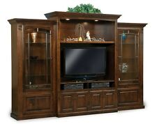 Amish TV Entertainment Center Solid Wood Media Wall Unit Cabinet Storage