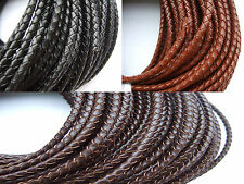 1/5 Yards 4MM Round Genuine Bolo Braided Leather Cord String DIY Craft Jewelry