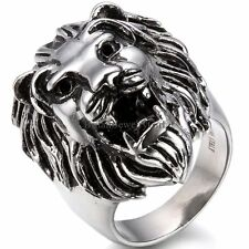 Vintage Heavy Stainless Steel Lion Head Casting Biker Men's Ring Band Size 7-14