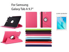"""Screen Protector/360°Rotate PU Leather cover case for Samsung Galaxy Tab A 9.7"""""""