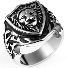 Vintage Stainless Steel Lion Head Shield Ring Biker Mens Engagement Wedding Band