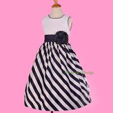 Trimmed Blue Striped Satin Formal Occasion Flower Girl Wedding Party Sz 4-9 #286