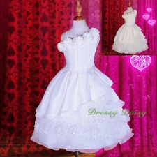Box Pleated Lace Tiered Flower Girl Formal Dress Wedding Communion Sz 2-9 #260