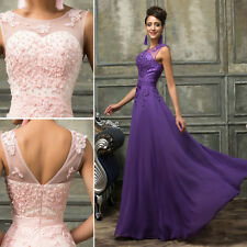 SK Sexy Lace Wedding Bridesmaid Formal Evening Party plus size Long Prom Dresses