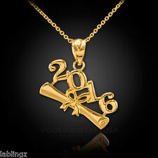 2016 Class Graduation Gold Pendant Necklace (yellow, white, rose gold)