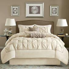 BEAUTIFUL 7PC MODERN ELEGANT IVORY TEXTURED COMFORTER SET King Queen Cal King