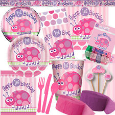 1st Birthday Ladybug Pink Party Supplies Decorations - All in same listing