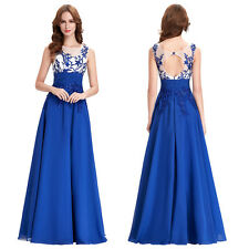 New Floor Length Formal Bridesmaid Prom Dress Blue Evening Sleeveless Ball Gowns