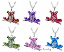 Jewelry Rhinestone Enamel Frog Pendant Necklace Silver Tone Long Chain Charm New