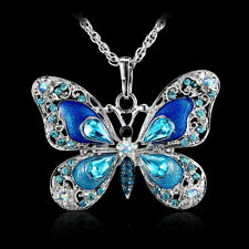 Jewelry Silver Butterfly Colorful Crystal Pendant Choker Sweater Necklace Chain