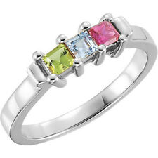 Mother's Jewelry Sterling Silver 1-5 Square Birthstones Mothers Ring, Moms gift