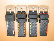 Carbon Fibre Grain Thick Leather Watch Strap, 20mm, 22mm, 24mm, Black, Stitching